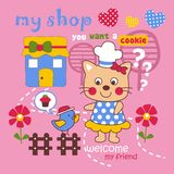My shop. Vector illustration for children clothes for wallpaper Royalty Free Stock Photography