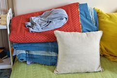 My sister�s bed is always chaos and mess concept. stock photography
