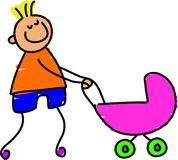 My sisters pram. Little boy playing with his sisters toy pram - toddler art series Royalty Free Stock Photos