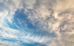My sky is never alone: I am always accompanied by the most beautiful clouds stock photo