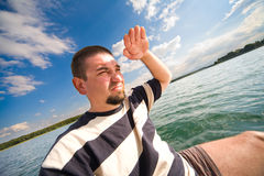 My small yacht - sailing on the lake Royalty Free Stock Image