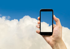 My smartphone in the cloud Stock Photography