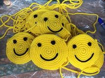 My smile knitting bag. My smile knitting bag thai handmade Stock Photos
