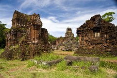 My son. Ruins of the champa towers and temples in Vietnam Royalty Free Stock Photography