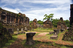 My son. Ruins of the champa towers and temples in Vietnam Royalty Free Stock Photo
