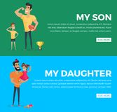 My Son and Daughter Poster with Pictures and Text. My son and my daughter vector web poster with pictures and text on green, blue backgrounds. Father and little Stock Images