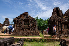 My son Heritage world. My Son Champa tower is the cluster of ancient Champa kingdom. My Son Sanctuary of Quang Nam, Vietnam Royalty Free Stock Photography