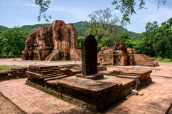 My son Heritage world. My Son Champa tower is the cluster of ancient Champa kingdom. My Son Sanctuary of Quang Nam, Vietnam royalty free stock image