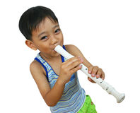 My song 2. Young boy playing flute Stock Photos
