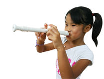 My song. Young girl playing flute Royalty Free Stock Image
