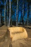 My space in nature: big wooden bench out of old st Stock Image