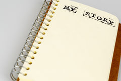 My story book on the white. Diary with text Royalty Free Stock Photography
