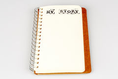 My story book on the white. Diary with text Stock Photo