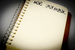 My story book on the white. Diary with text Royalty Free Stock Images