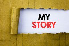 My Story. Business concept for Telling Tell About You written on white paper on the yellow folded paper. My Story. Business concept for Telling Tell About You Stock Image