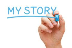 My Story Handwritten With Blue Marker. Hand writing My Story with blue marker on transparent wipe board Royalty Free Stock Photography