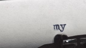 My story - Typed on an old vintage typewriter. Close-up stock video