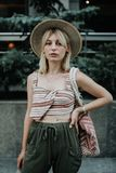 That is my street style. Beautiful young stylish fashion model i. N the streets in a sunny day. Beautiful woman having a sunny day in Sarajevo Stock Images
