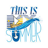 This is my summer. The yacht is at anchor at night. The inscription and thematic picture. Vector illustration Stock Photo