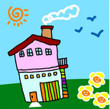 My sweet home. A children art drawing for my sweet home, vector, illustration Stock Image