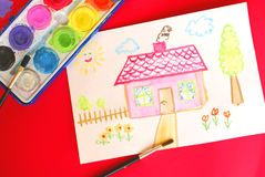 My sweet home. Child's image of house paint with watercolor paints Stock Photography