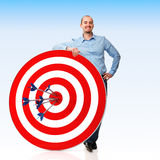 My target. Smiling man with target and arrows Stock Illustration