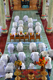 Religious ceremony in a Cao Dai temple, Vietnam Royalty Free Stock Photo