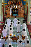 Religious ceremony in a Cao Dai temple, Vietnam Royalty Free Stock Photography