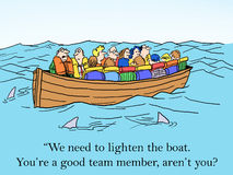 My turn to take one for the team. We need to lighten the boat. You're a good team member, aren't you Stock Photos