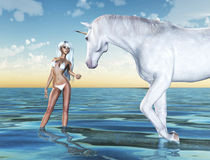 My Unicorn. A young anime girl metting her unicorn in a dreamy fantasy place royalty free stock photos