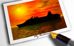 My Vacation. Photograph of cruise vacation at sunset with pen Stock Images