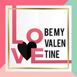 By my valentine card design square vector illustration with love heart text. Happy valentine's day concept vector illustration