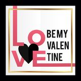By my valentine card design square vector illustration with love heart text. Happy valentine's day concept royalty free illustration