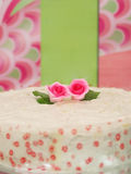 My Valentine-Pink Rose. Twin pink roses on cake Royalty Free Stock Photography