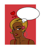 My Valentine Wish - African American. A beautiful woman with love on her mind. Insert your own text into the empty thought bubble. Oriental Asian and Caucasian royalty free illustration