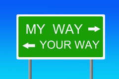 My way. A clear choice between my way and your way (concept for not reaching an agreement