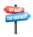 My way, the highway. road sign illustration Stock Photos