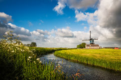 On My Way. A typical dutch windmill on a freshly mowed field of grass Stock Photography