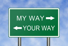 My Way Your Way. A clear choice between my way and your way (concept for not reaching an agreement Royalty Free Stock Photography
