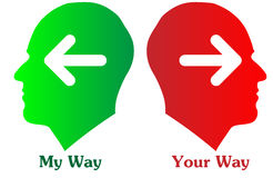 My way and your way. An illustration with two people, one labeled my way and another your way Stock Image