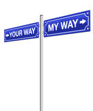 My Way Your Way Roadsign Stock Photo
