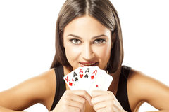 My win. Happy attractive girl holding the winning combination of poker cards Stock Images