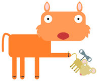 My wind up. A cartoon cat with a wind up rat Royalty Free Stock Image