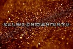 My wszystkie połysk jak księżyc teksta wycena w pięknym tle zdjęcia stock