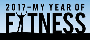 2017 My Year of Fitness. New Year Motivational Typography Poster with Individual and Land Silhouette and Blue Sky Gradient Royalty Free Stock Photography