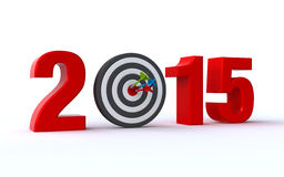 My year 2015. New year 2015 concept with a bullseye and dart on the white background (3d render Royalty Free Stock Photos