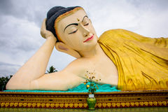 reclining image of buddha, Bago, Myanmar royalty free stock photos