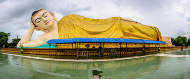 reclining image of buddha, Bago, Myanmar, june-2017 stock photos