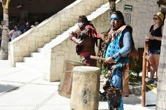 Myan印地安鼓手肋前缘玛雅人墨西哥 免版税库存照片