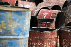 Myanmar. Oil drum near Irrawaddy river Stock Photos